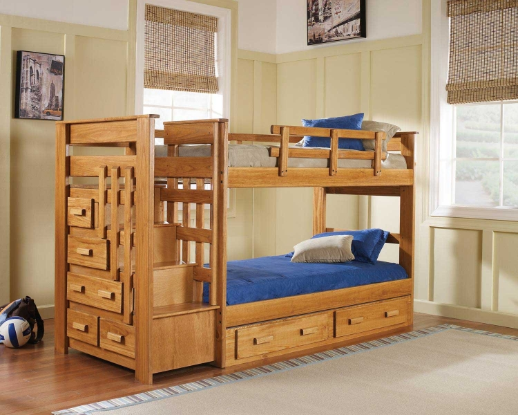365001-S Twin Over Twin Stairwaybed with Underbed Storage - Honey