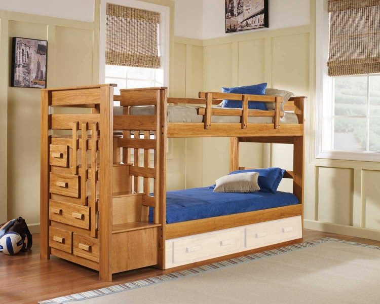 365001 Twin Over Twin Stairwaybed - Honey