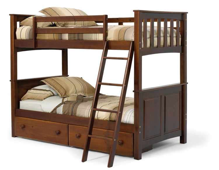 3652000-S Twin Over Twin Mission Panel Bunk Bed with Underbed Storage - Dark