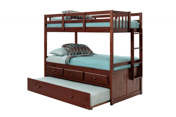 3656010 Twin Over Twin Bunk Bed with Trundle and Storage - Dark