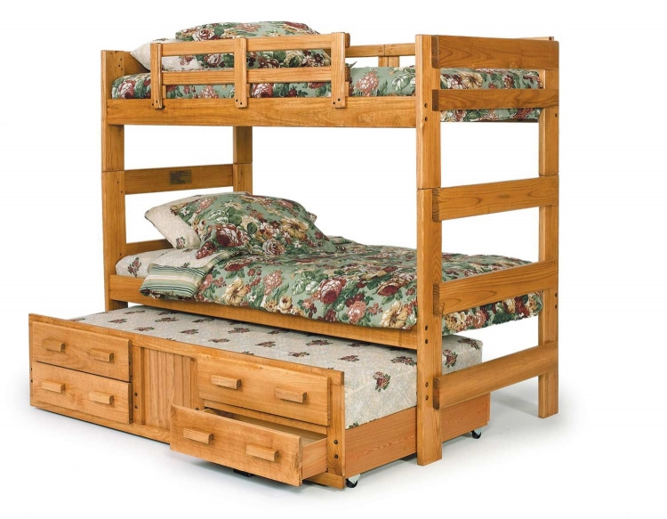 3662001-TR Extra Tall Twin Over Twin with Trundle - Honey