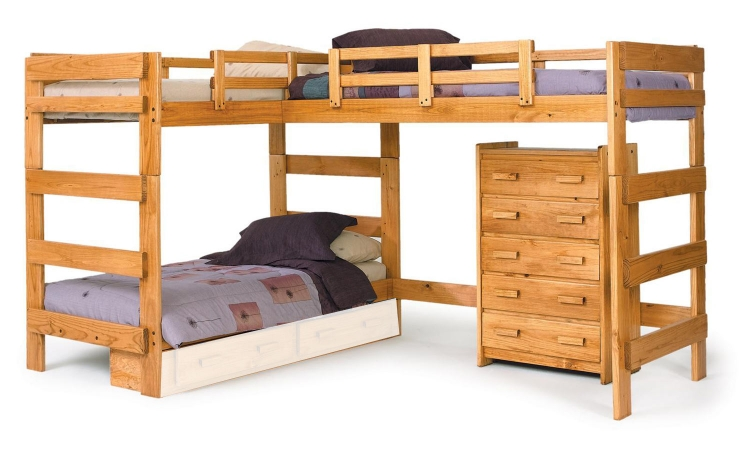 3662008 L Shaped Loft Bed - Honey
