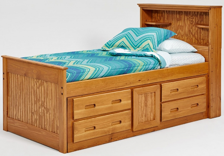 Twin Bookcase Captains Bed - Honey