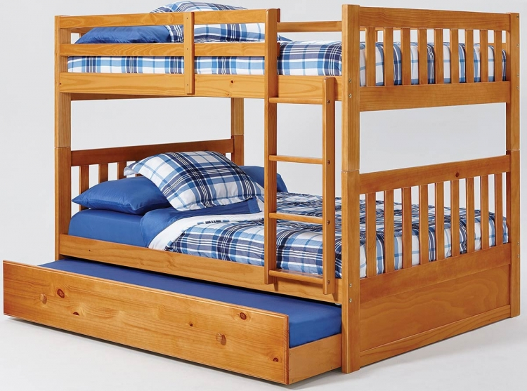 Full Over Full Mission Bunk Bed - Honey