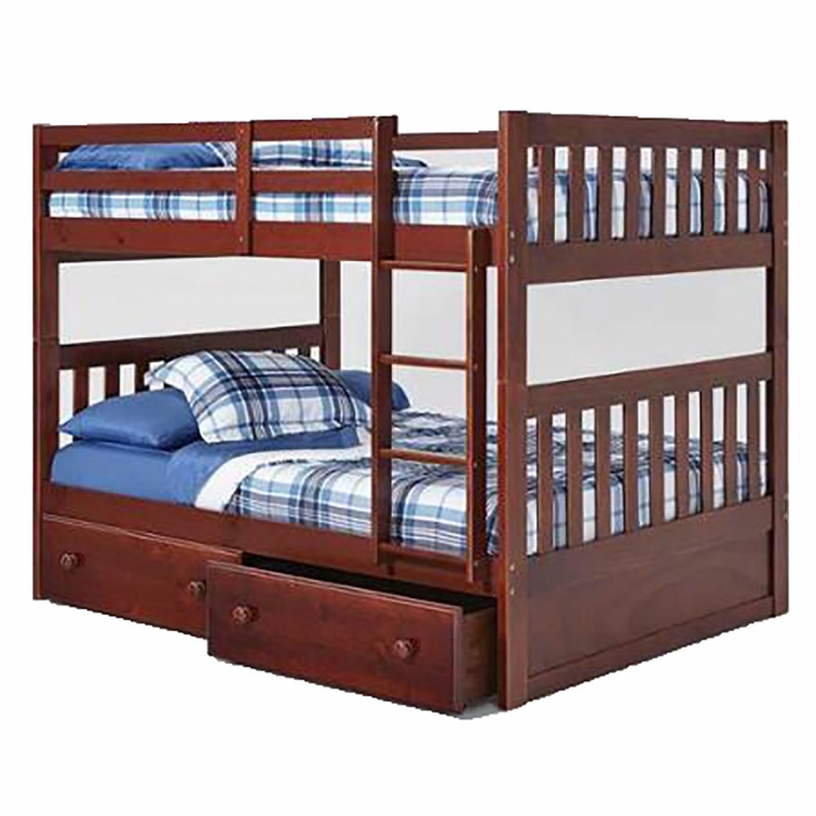 Full Over Full Mission Bunk Bed with Under Bed Storage - Chocolate