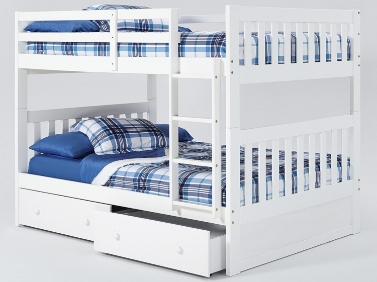 Full Over Full Mission Bunk Bed with Storage - White