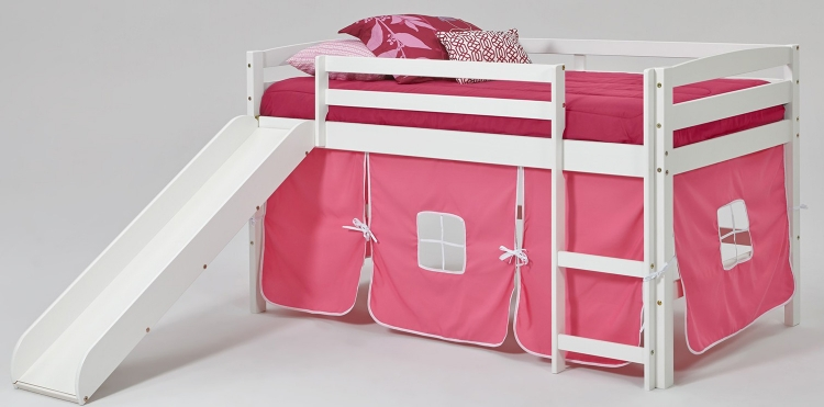 Pink Tent Loft Bed with Slide - White