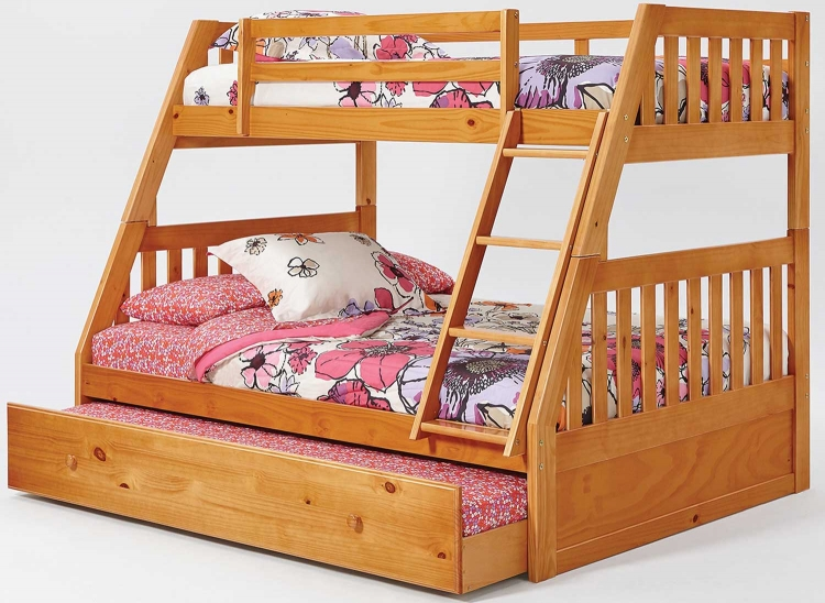 Twin Over Full Mission Bunk Bed with Trundle - Honey