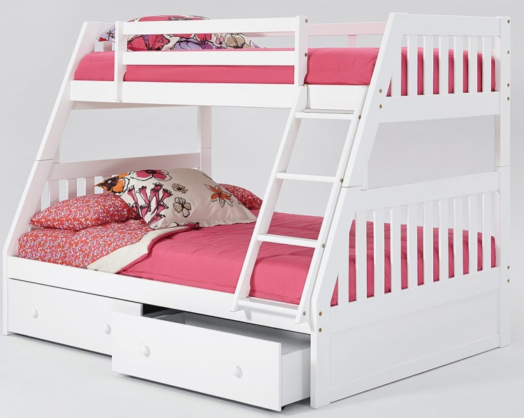 Twin Over Full Mission Bunk Bed with Under Bed - White