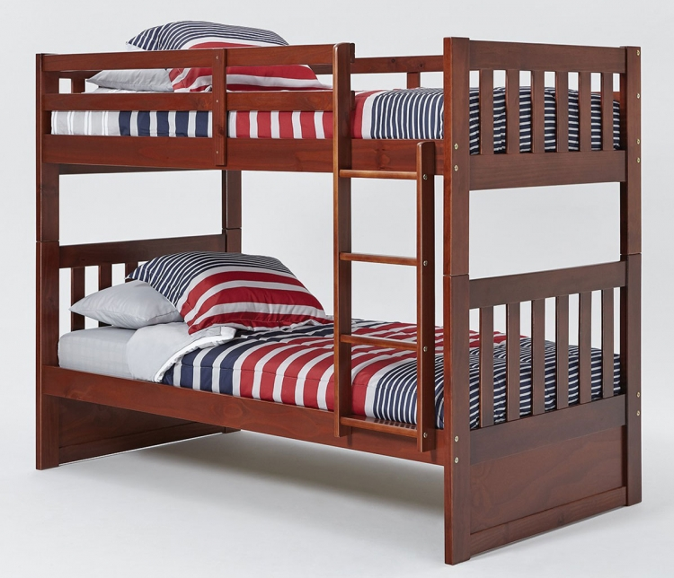 Twin Over Twin Mission Bunk Bed - Chocolate