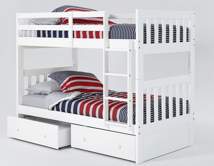 Twin Over Twin Mission Bunk Bed with Trundle - White