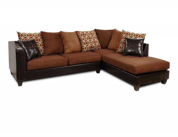 Ashley 2PC Sectional Sofa - Denver Mocha/Victory Chocolate