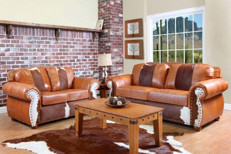 Rawhide Sofa Set - Top Grain Leather and Cowhide - Chelsea