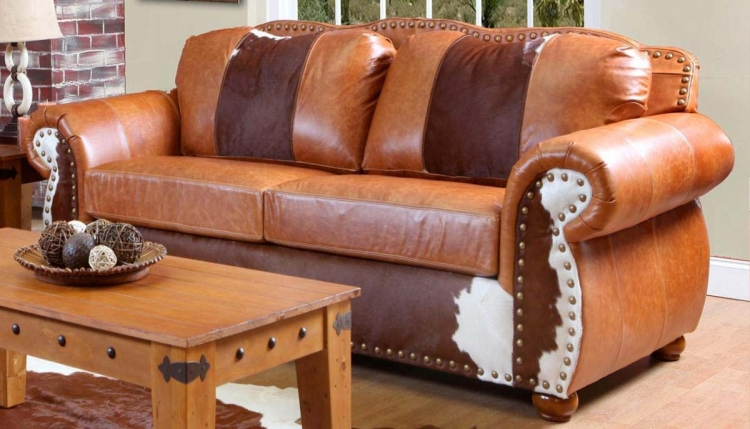 Rawhide Sofa - Top Grain Leather and Cowhide - Chelsea