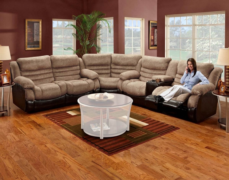 Durham 3 Piece Reclining Sectional Sofa - Brown Bicast/Denver Saddle