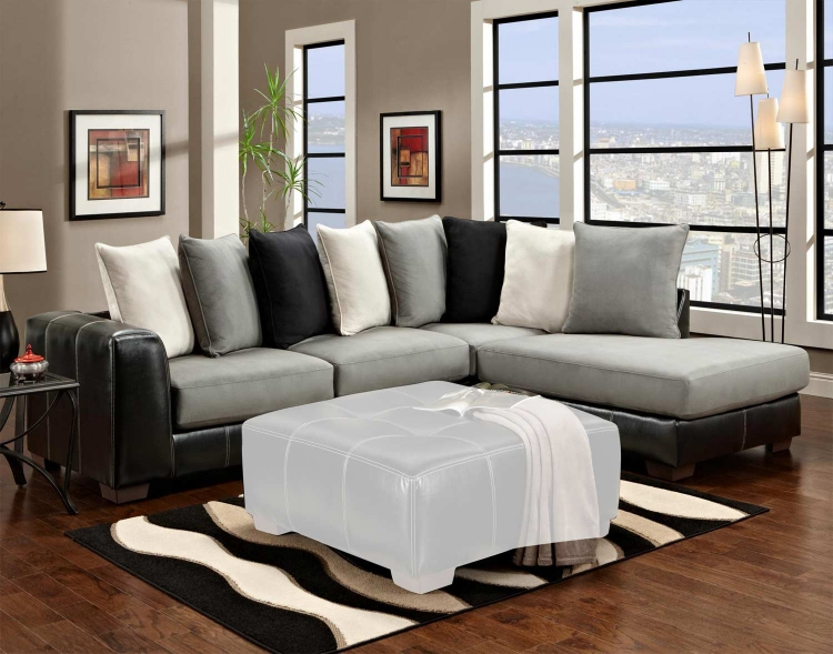 Landon 2 Piece Sectional Sofa - Idol Steel/LaredoBlack