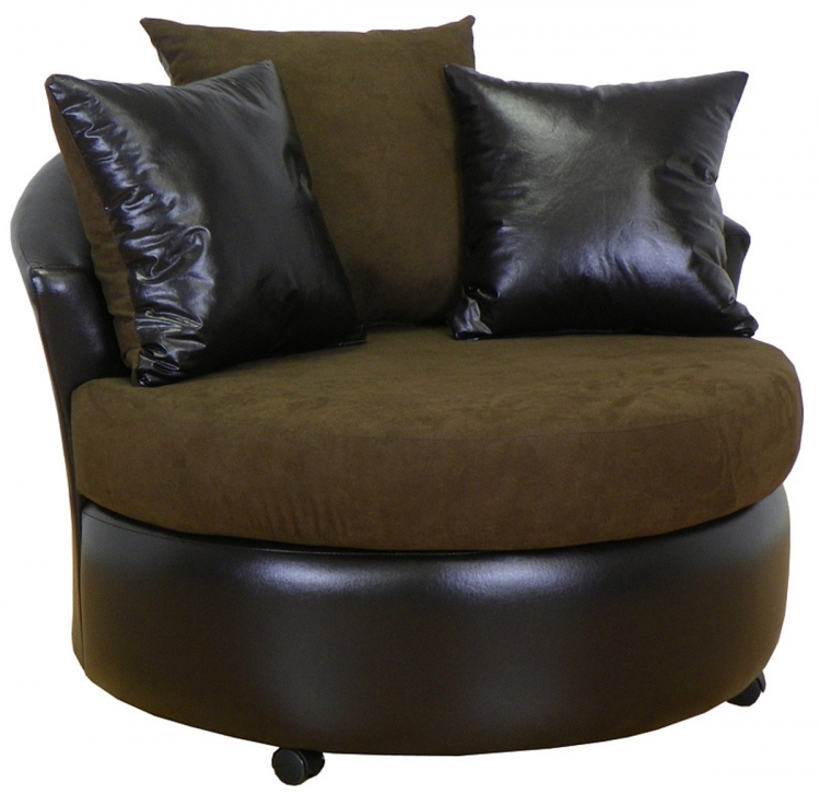 Alexa Swivel Chair - Bulldozer Java/Bicast Chocolate