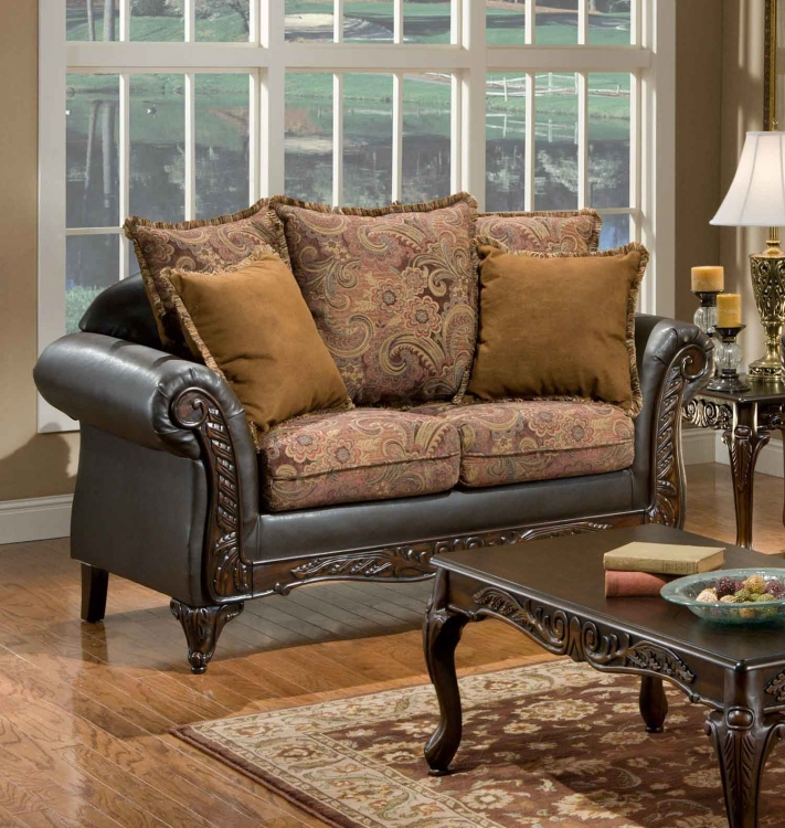 Arlene Loveseat - Silas Raisin/Bi-Cast Brown