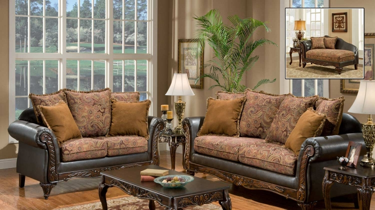Arlene Sofa Set - Silas Raisin/Bi-Cast Brown