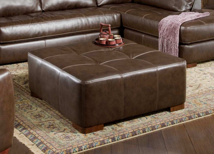 Fairfax Cocktail Ottoman - Capri Dark Brown