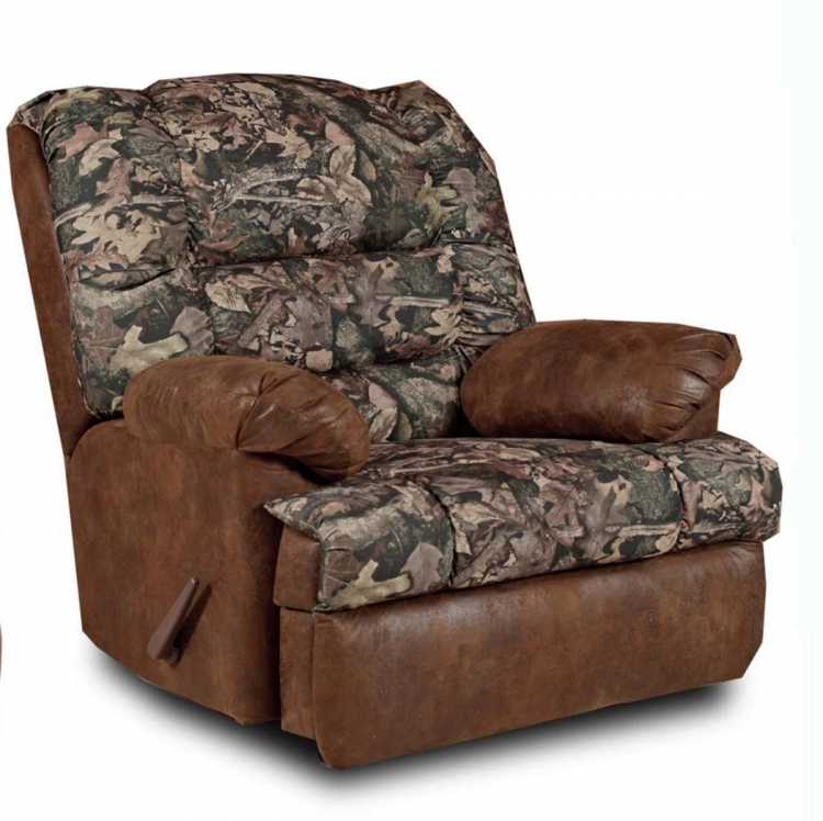Big Mans Handle Reclining Chair - Camo/Pinto Tobacco Microfiber - Chelsea