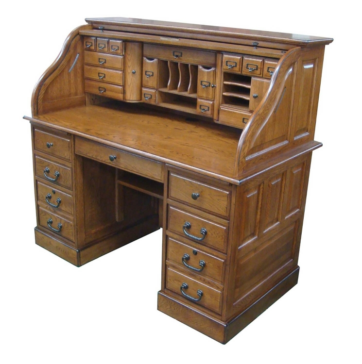 Marlin 54-inch Deluxe Roll Top Desk Top - Burnished Walnut