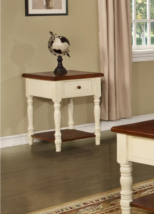 Bolton End Table - Buttermilk/Cherry