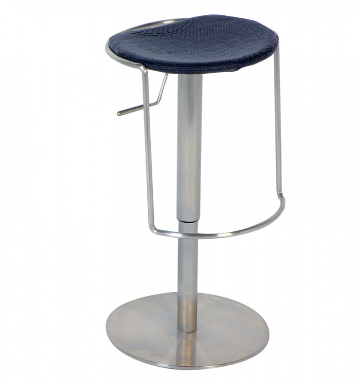 0535 Adjustable Height Swivel Stool - Black - Chintaly Imports