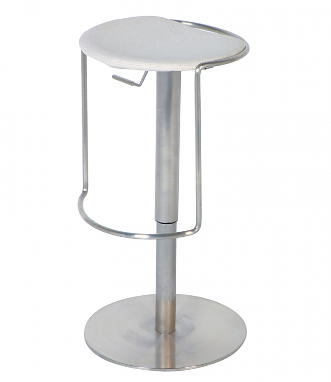 0535 Adjustable Height Swivel Stool - White - Chintaly Imports