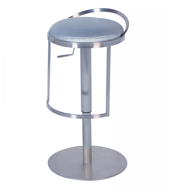 0571 Adjustable Height Swivel Stool - Silver