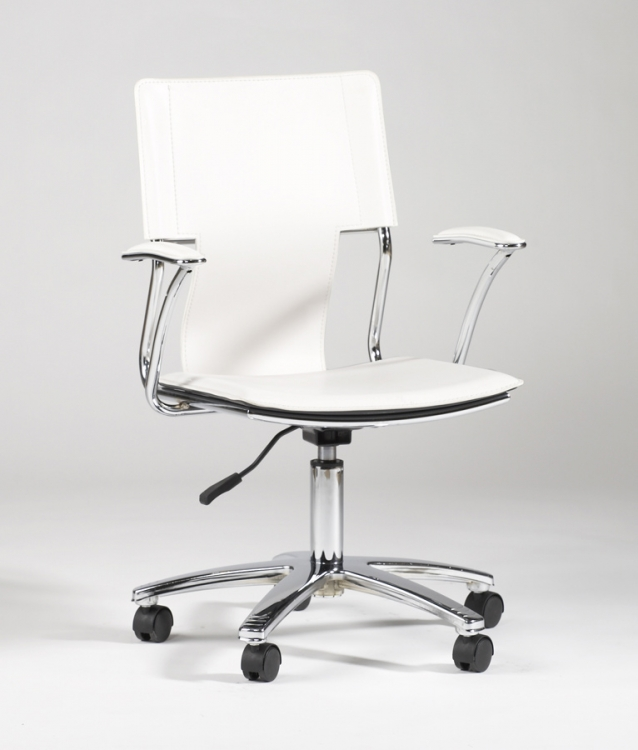 Swivel Arm Chair - Chrome and White - Chintaly Imports