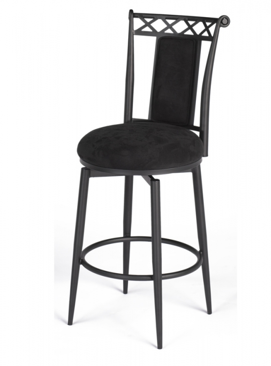 0724 30 Inch Swivel Memory Return Bar Height Stool - Black - Chintaly Imports