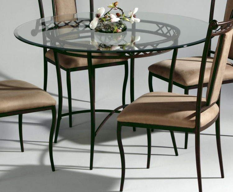0724 Round Dining Table with Glass Top - Chintaly Imports