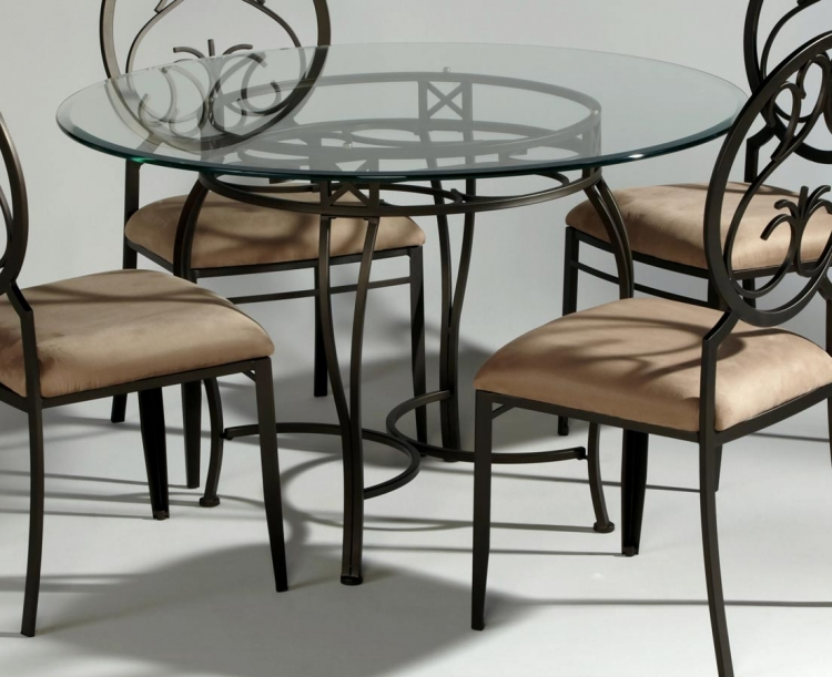 0745 Round Dining Table with Glass Top - Chintaly Imports