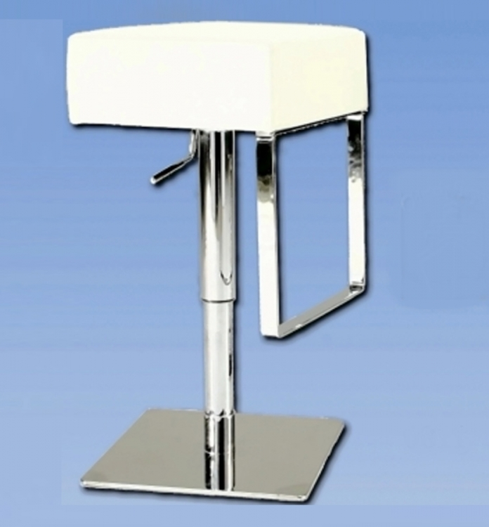 0811 Adjustable Height Swivel Stool - White - Chintaly Imports