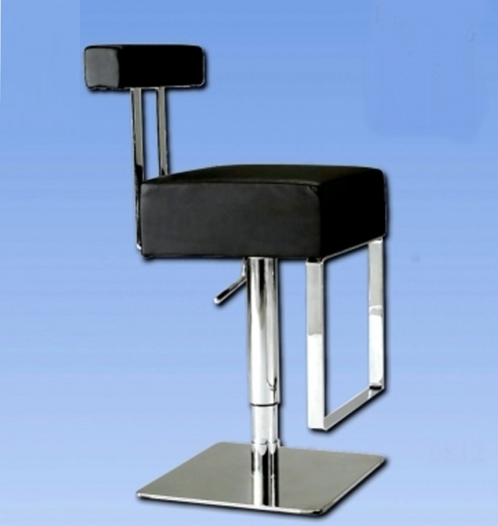 0812 Adjustable Height Swivel Stool - Black - Chintaly Imports