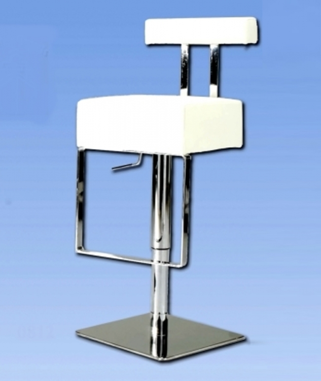 0812 Adjustable Height Swivel Stool - White - Chintaly Imports
