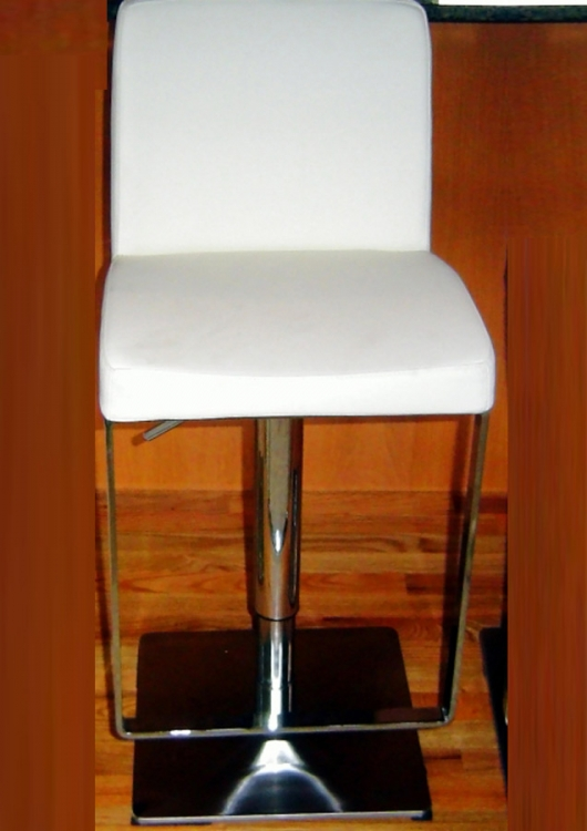 0813 Adjustable Height Swivel Stool - White - Chintaly Imports