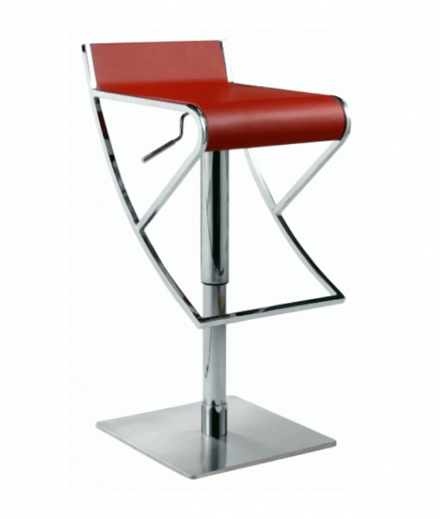 0815 Adjustable Height Swivel Stool - Red - Chintaly Imports