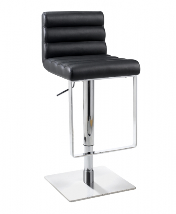 0830 Adjustable Height Swivel Stool - Black - Chintaly Imports