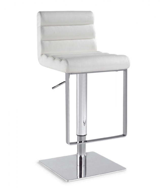 0830 Adjustable Height Swivel Stool - White - Chintaly Imports