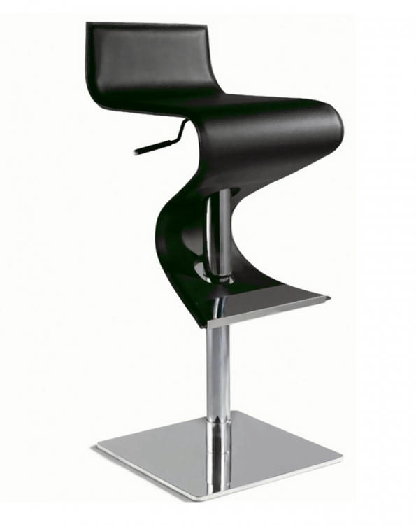 0833 Adjustable Height Swivel Stool - Black - Chintaly Imports