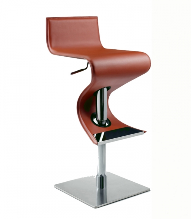 0833 Adjustable Height Swivel Stool - Rust - Chintaly Imports