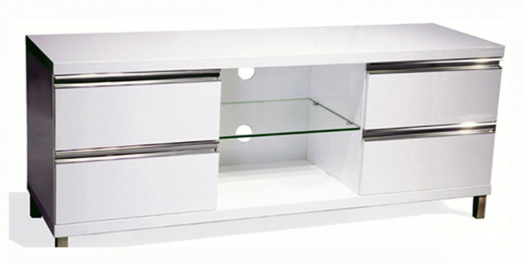 High Gloss TV Stand with Chrome Accent - Chintaly Imports