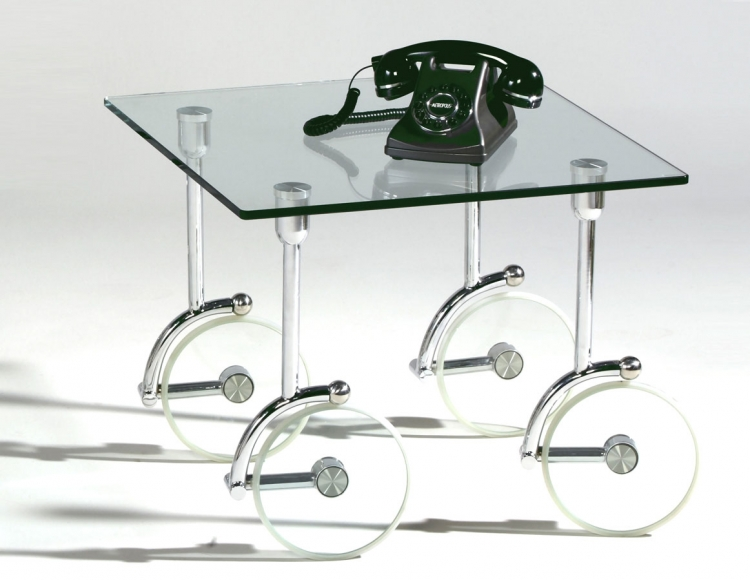 1105 Glass Caster Lamp Table - Chintaly Imports