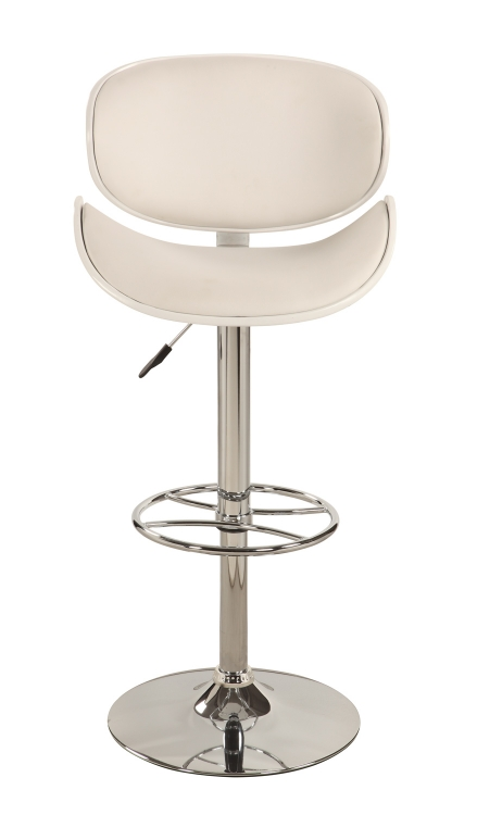 1376 Oversize Pneumatic Gas Lift Swivel Stool - Chrome/ White
