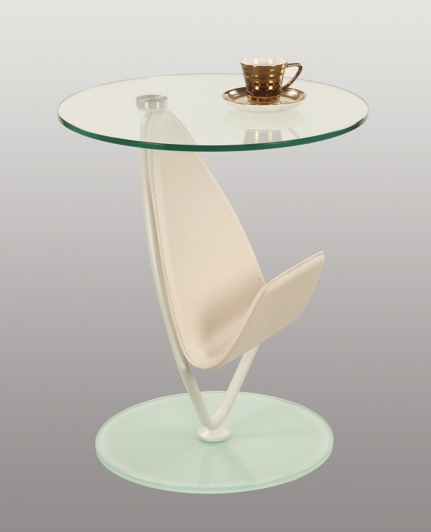 3272 Modern Lamp Table - Clear Glass/Matt White
