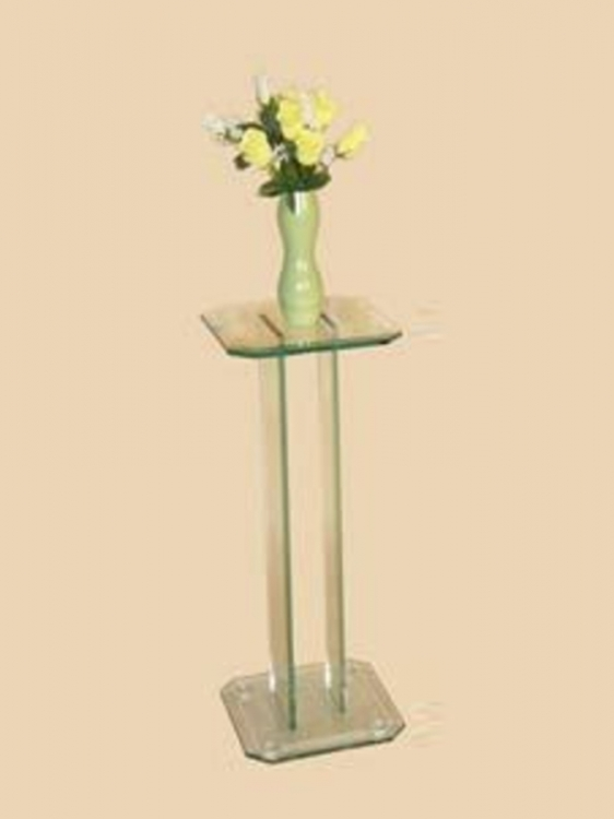 30 Inch Square Glass Pedestal Top Table - Chintaly Imports