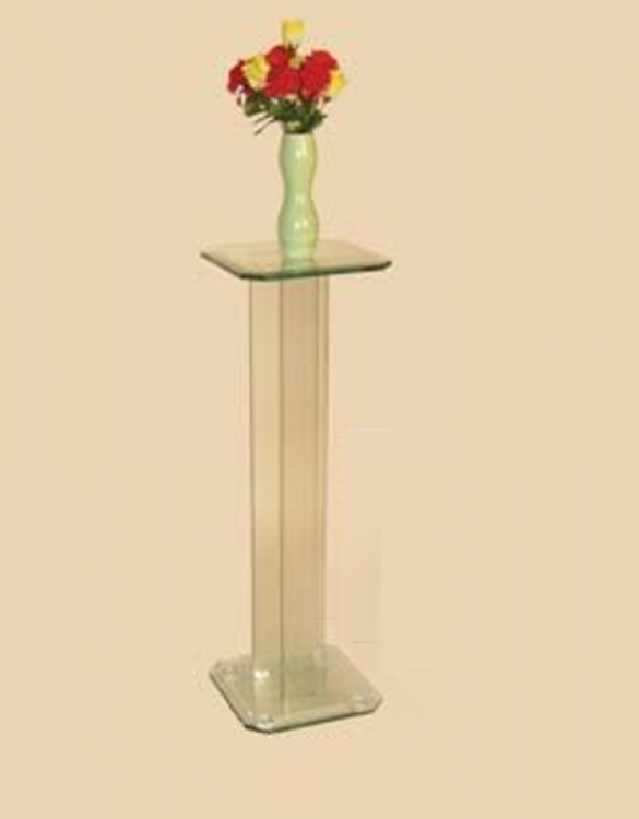 36 Inch Square Glass Pedestal Top Table - Chintaly Imports