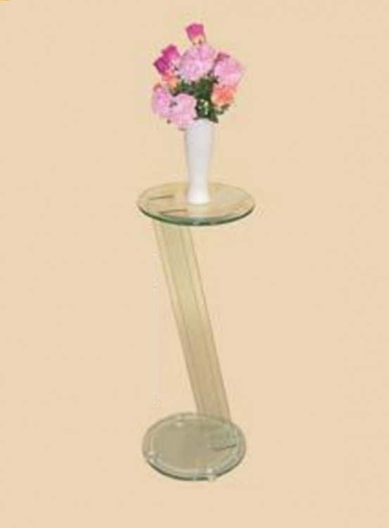 30 Inch Glass Angled Pedestal Round Top Table - Chintaly Imports